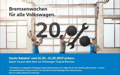 Bremsenwochen für alle Volkswagen.